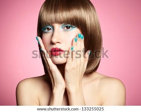 Fashion photo of beautiful woman on pink background. Beauty portrait - stock photo