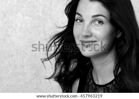 Fashion photo of beautiful woman with magnificent hair/Black and White Fashion Model Girl Portrait