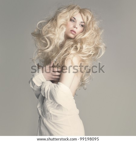 Fashion photo of beautiful woman with sexy body and blond hair - stock photo