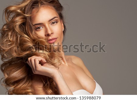 Fashion photo of blonde beauty with natural make-up - stock photo