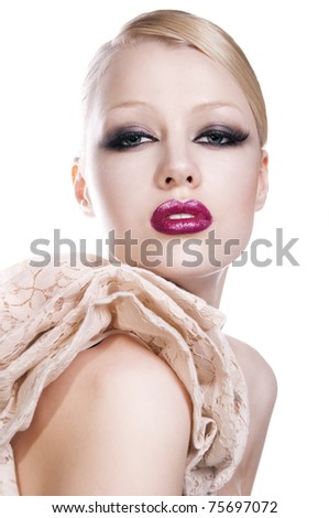 fashion photo of pretty blond woman with red lips on white background - stock photo