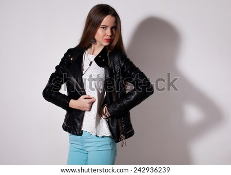 Fashion photo of young magnificent long hair woman. Girl posing. Studio photo  - stock photo