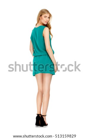 Fashion photo of young magnificent woman wearing dress