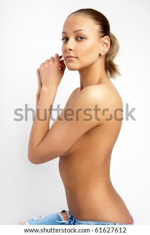 Fashion photo of young sensual woman. - stock photo