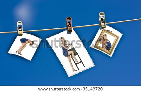 Fashion photos hanging on a clothesline