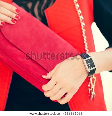 Fashion portrait girl with stylish accessories - stock photo