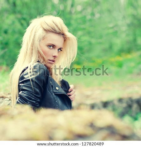 fashion portrait of a beautiful blonde - stock photo