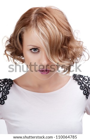 Fashion portrait of a beautiful blonde woman with red lips. - stock photo