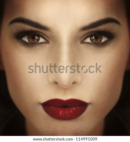 fashion portrait of a beautiful girl with red lips - stock photo