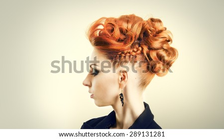 Fashion portrait of a beautiful young girl model - stock photo