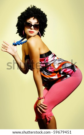 Fashion portrait of a beautiful young sexy woman - stock photo