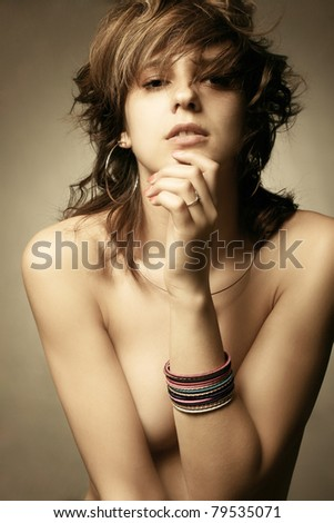Fashion portrait of a beautiful young sexy woman - stock photo