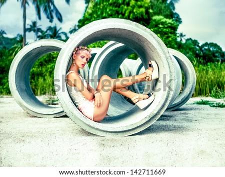fashion portrait of a sensual girl outdoors - stock photo