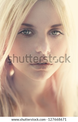fashion portrait of a sexy blonde close up - stock photo
