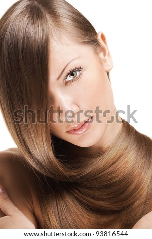 fashion portrait of a woman with beautiful long shiny hair