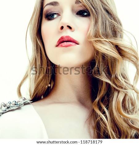 fashion portrait of a young girl - stock photo