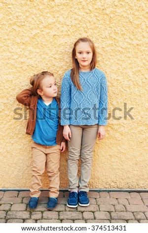 Fashion portrait of adorable kids - stock photo