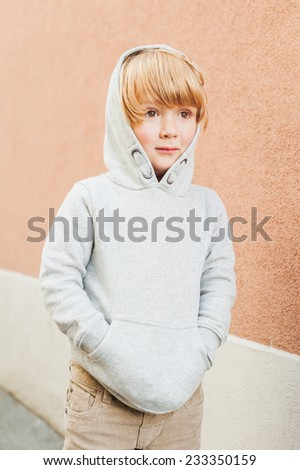 Fashion portrait of adorable toddler boy - stock photo