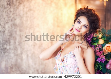 Fashion portrait of beautiful woman in lingerie - stock photo