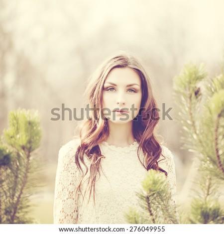 Fashion Portrait of Beautiful Woman Outdoors - stock photo