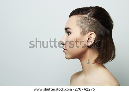 fashion portrait of beautiful young woman with short haircut.Hairstyle.sweet girl - stock photo
