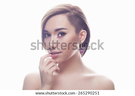 fashion portrait of beautiful young woman with short haircut.Hairstyle.sweet girl.beauty make-up, fresh skin, wearing accessories, isolated over white background - stock photo