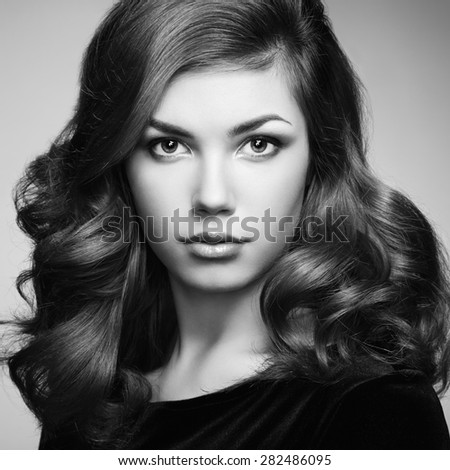 stock photo fashion portrait of elegant woman with magnificent hair brunette girl perfect make up girl in 282486095