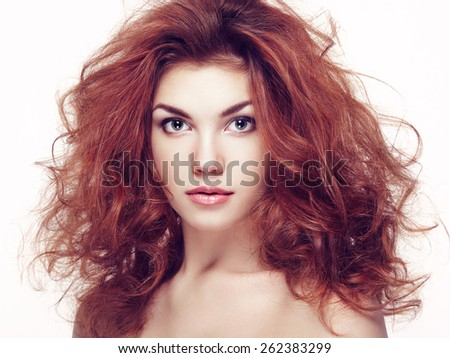 Fashion portrait of elegant woman with magnificent hair. Brunette girl. Perfect make-up. Girl on white background. Curly hair - stock photo