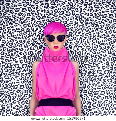 fashion portrait of girl with trendy hairstyle - stock photo