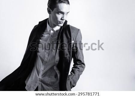 Fashion portrait of male model. - stock photo