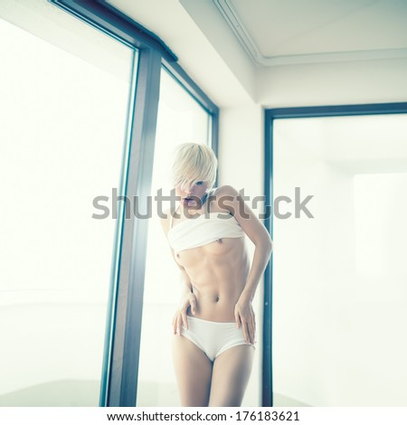 fashion portrait of nude sensual woman - stock photo
