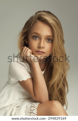 Fashion portrait of pretty little girl - stock photo