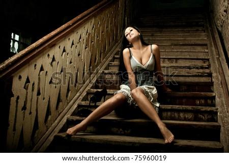 Fashion portrait of pretty young woman - stock photo