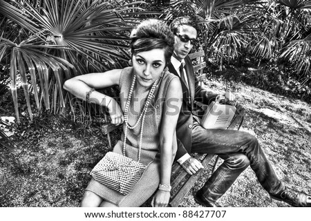 fashion portrait of retro sixties style young couple