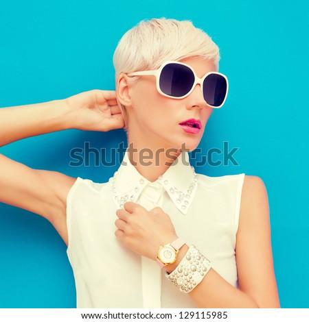fashion portrait of sensual stylish woman - stock photo
