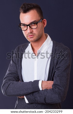 fashion portrait of the young man - stock photo