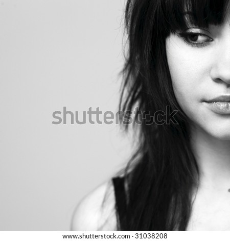 Fashion portrait of young attractive lady - stock photo