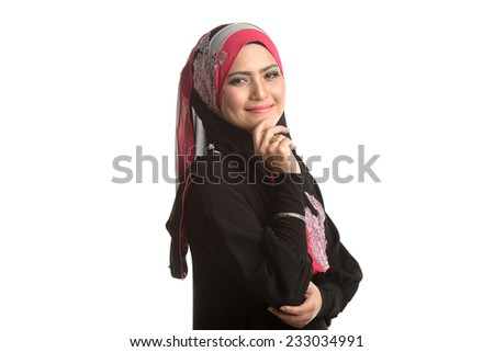 Fashion portrait of young beautiful Asian Muslim woman with wearing hijab. Muslim woman corporate conceptual. Isolated white - stock photo