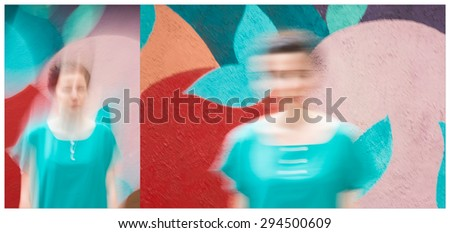 Fashion portrait of young beautiful brunette woman in casual clothes on colorful background; outdoor. Collage. - stock photo