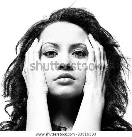 Fashion portrait of young magnificent lady isolated on white background - stock photo
