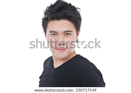 Fashion portrait of young man in black dress - stock photo
