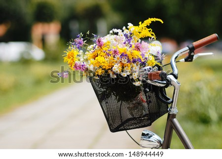 fashion portrait of young pretty brunette with bicycle and flowers - stock photo