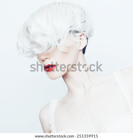 Fashion Portrait sensual Blonde lady with stylish Haircut - stock photo