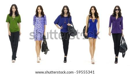 Fashion pretty girl full length in modern,dress, studio shot, collage - stock photo