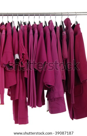 Fashion red clothing Rack Display - stock photo