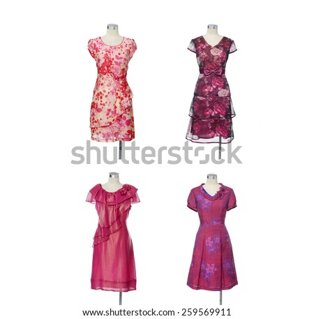 Fashion red female clothes on four mannequin   - stock photo