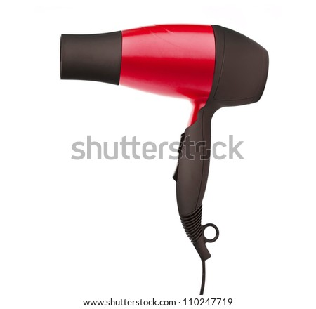 Fashion red hair dryer isolated on white