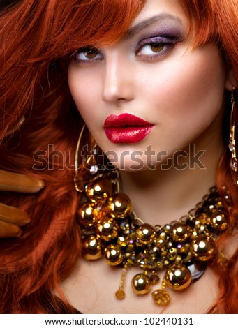Fashion Red Haired Girl Portrait - stock photo