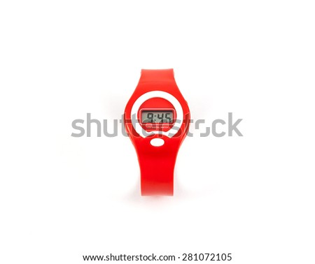 Fashion red LCD digital wristwatch isolated on white background - stock photo