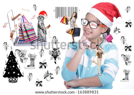 Fashion Santa Girl with shopping concept  - stock photo